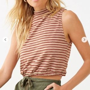 Forever 21 Striped Mock Neck Crop Top - NWT!!!